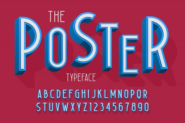 Abstracte 3d lettertype, letters en cijfers illustratie