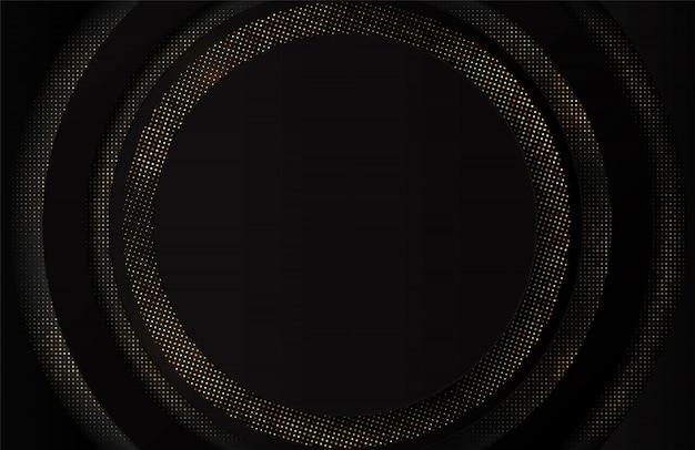 Abstracte 3d luxe zwarte achtergrond met glitter. zwarte banner met gouden stippen. achtergrond