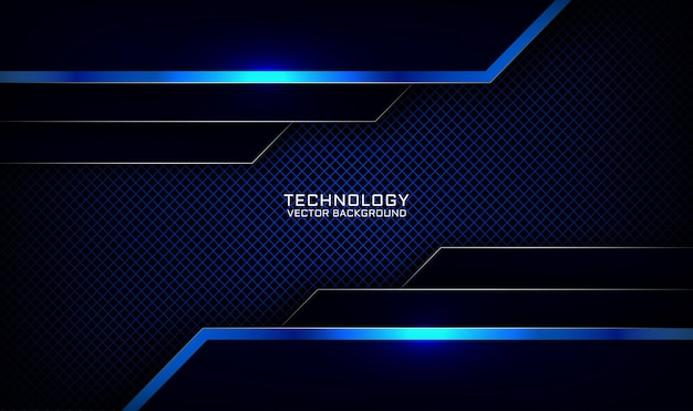 Abstracte 3d marineblauwe technologie achtergrond overlappende laag met glanzend lijn metalen effect