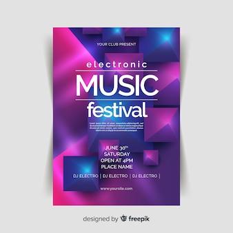 Abstracte 3d muziek poster sjabloon