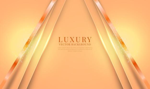 Abstracte 3d-oranje luxeachtergrond met glanzend metaallijneffect