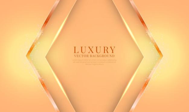 Abstracte 3d oranje luxeachtergrond met glanzend metaalpijleffect