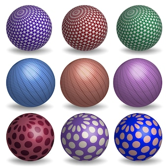 Abstracte 3d-realistische bollen instellen. geometrische primitieven collectie.