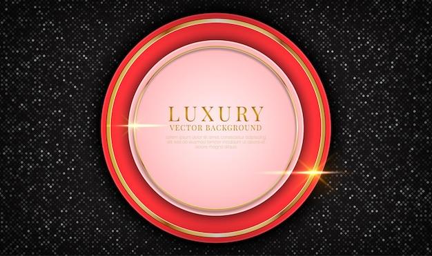 Abstracte 3d rode luxe achtergrond overlappingslaag met gouden metalen cirkels effect