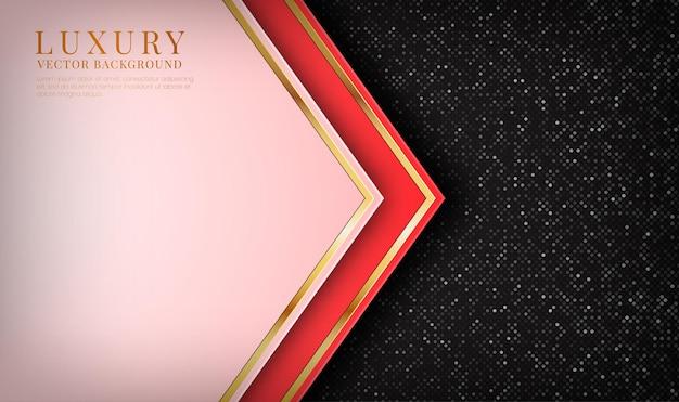 Abstracte 3d rode luxe achtergrond overlappingslaag met gouden metalen lijnen effect