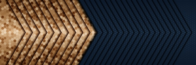 Abstracte 3d-stijl luxe gouden achtergrond met donkerblauwe metalen textuur