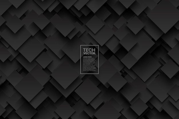 Abstracte 3d-technologie donkergrijs vector achtergrond