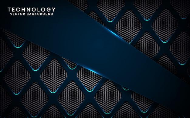 Abstracte 3d-technologieachtergrond met blauw straleneffect, overlappingslagen op donkere ruimte met metaalruit