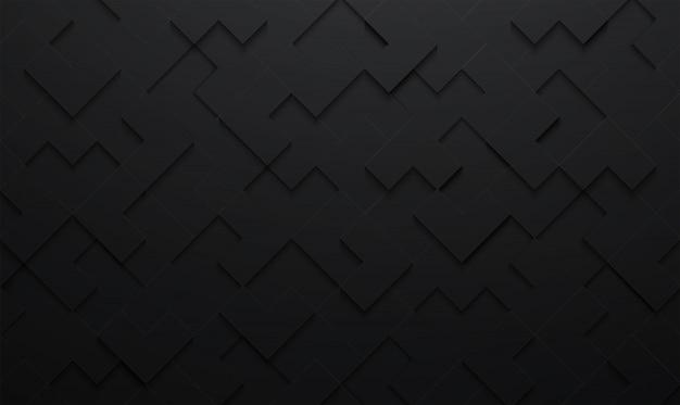 Abstracte 3d textuur vector zwarte vierkante patroonachtergrond