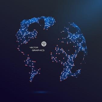 Abstracte 3d vector wereld. wereldkaart illustratie voor technologisch ontwerp en presentatie.