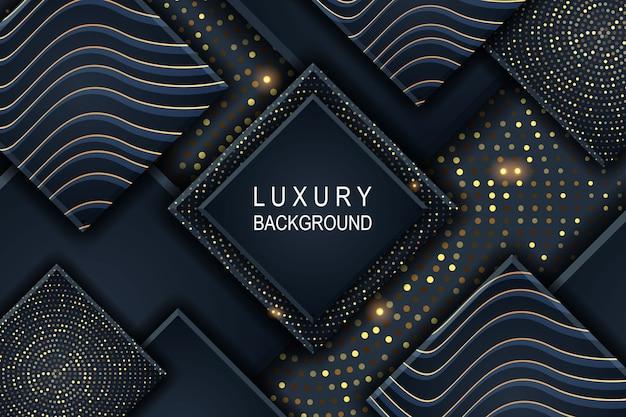 Abstracte 3d-vierkante luxe achtergrond met gloeiende halftoonpatroon