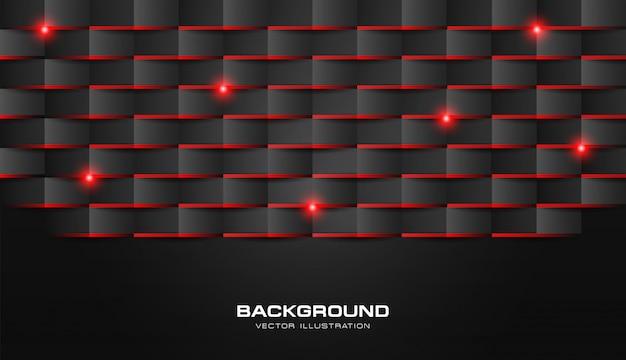 Abstracte 3d vouw papier geometrische patroon luxe donker zwart met rood glanzend licht