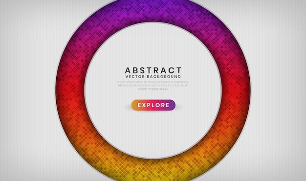 Abstracte 3d witte banner overlappende laag met kleurrijke ruitpatrooneffecten