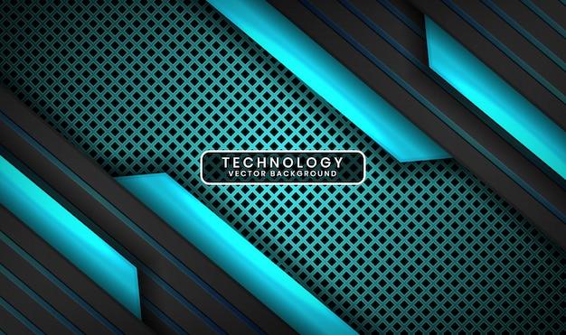 Abstracte 3d zwarte en blauwe technische achtergrond met lichteffect