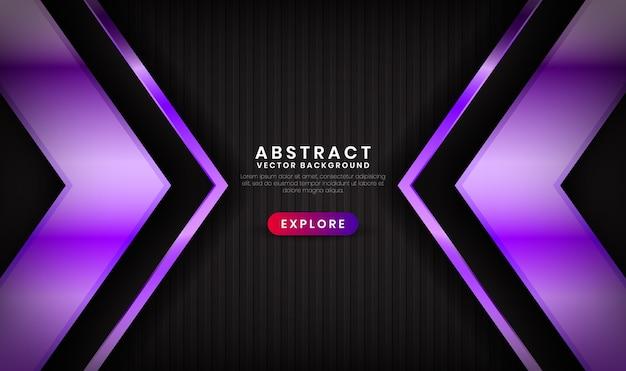 Abstracte 3d-zwarte en paarse luxeachtergrond met glanzend effect