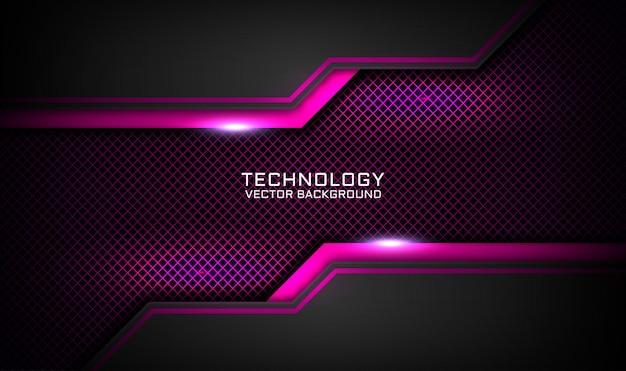 Abstracte 3d zwarte en roze technologieachtergrond, overlappingslaag met lichteffect