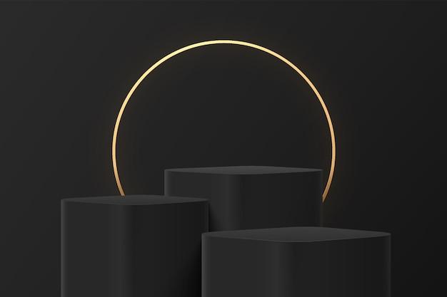 Abstracte 3d zwarte stappen ronde hoek kubus voetstuk of staan podium met luxe gloeiende gouden ring