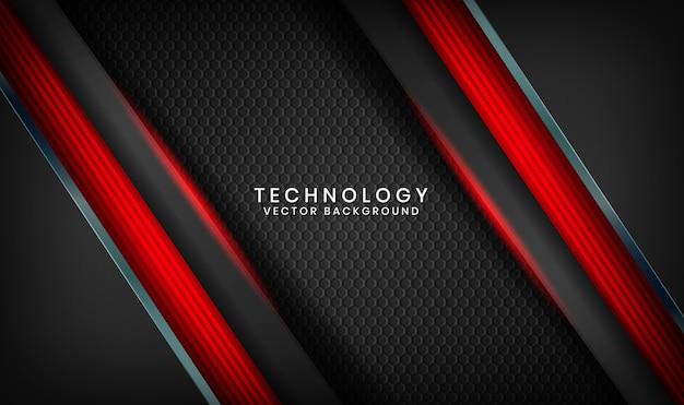 Abstracte 3d zwarte technische achtergrond met rood lichteffect op donkere ruimte