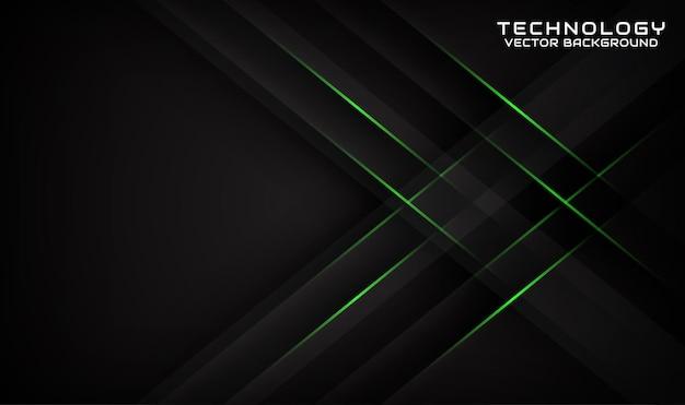 Abstracte 3d zwarte technologie achtergrond overlap laag met geometrische groene lijnen effect green