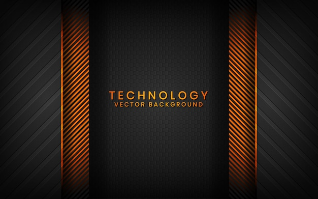 Abstracte 3d zwarte technologie achtergrond overlappende lagen op donkere ruimte met oranje lichteffectdecoratie