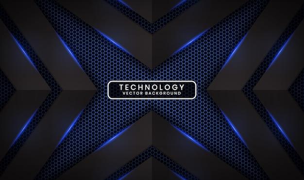 Abstracte 3d zwarte technologieachtergrond met blauw lichteffect op donkere ruimte