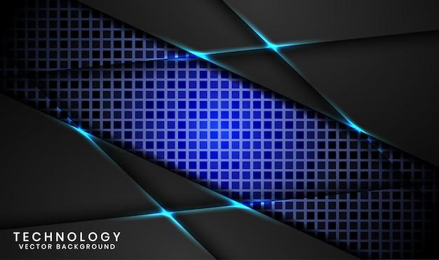 Abstracte 3d zwarte technologieachtergrond met willekeurige vierkante geweven, overlappingslagen met blauwe lichteffectdecoratie