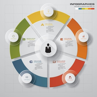Abstracte 5 stappen moderne cirkeldiagram infographics elementen