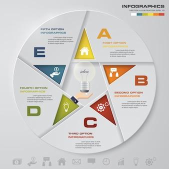 Abstracte 5 stappen moderne cirkeldiagram infographics elementen.
