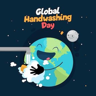Abstracte aarde die zijn handen wast