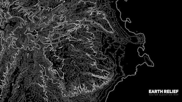 Abstracte aarde reliëfkaart. gegenereerde conceptuele hoogtekaart.