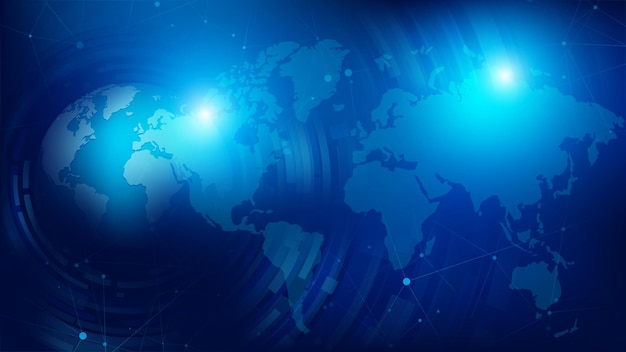 Abstracte achtergrond 3d bol bol en gestippelde wereldkaart