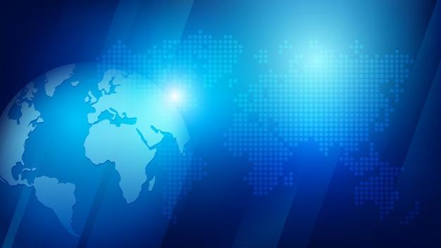 Abstracte achtergrond 3d globe bol en gestippelde wereldkaart in futuristische stijl