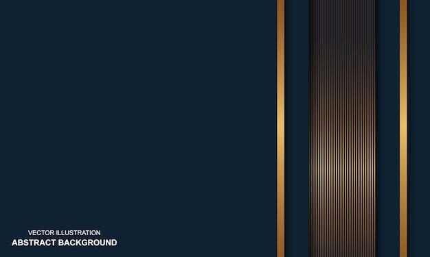 Abstracte achtergrond blauwe dop met gouden lijnen modern design