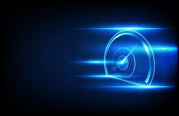 Abstracte achtergrond futuristische technologie halogram van auto gebruikersinterface hud ui snelheidsmeter meter