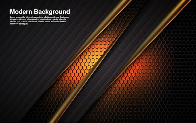 Abstracte achtergrond gouden lijn en zwarte kleur op afmeting oranje modern