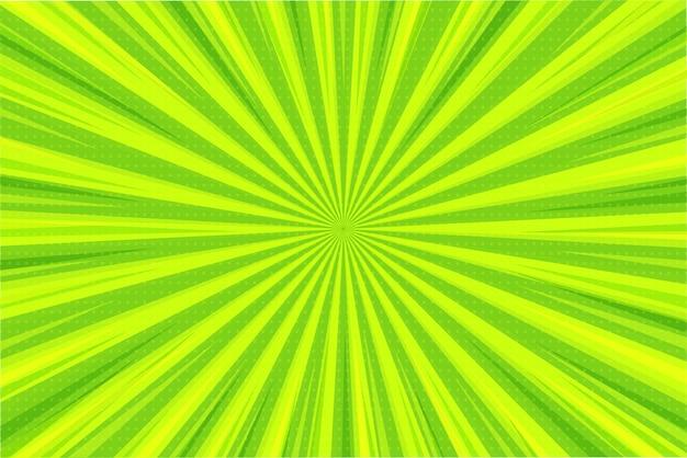 Abstracte achtergrond. groene en gele lichtstralen verspreiden zich vanuit het midden in een komische stijl.