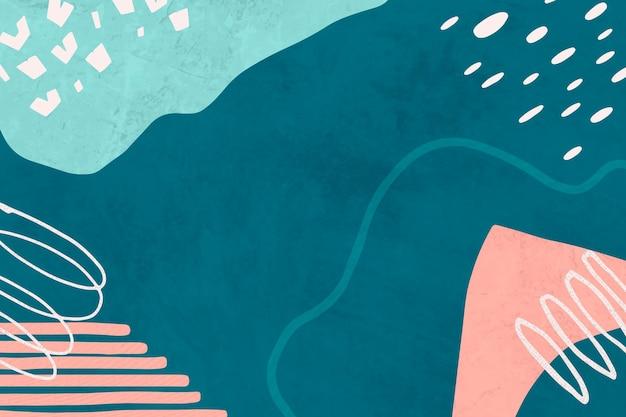 Abstracte achtergrond in blauw en roze met abstracte kleurrijke tekeningen van doodle memphis