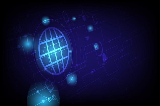 Abstracte achtergrond in hi-technologie van communicatieontwerp met gloeiend blauw licht.