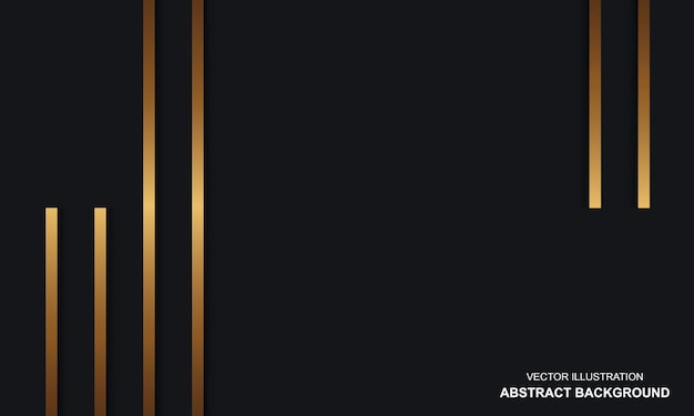 Abstracte achtergrond luxe zwarte dop met gouden lijnen modern design