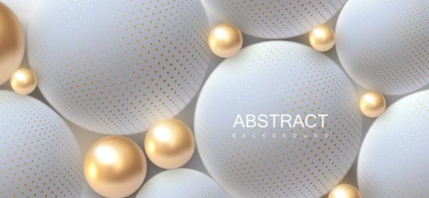 Abstracte achtergrond met 3d-gouden en witte bollen