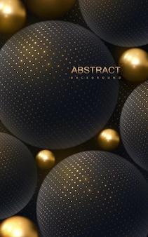 Abstracte achtergrond met 3d-gouden en zwarte bollen Premium Vector