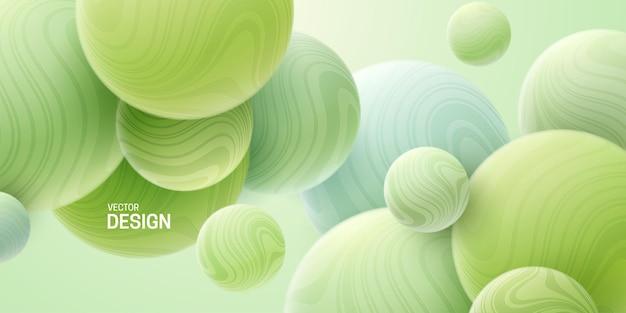 Abstracte achtergrond met 3d mintgroene gemarmerde bubbels
