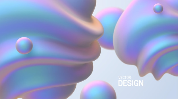 Abstracte achtergrond met 3d parelmoer vormen.