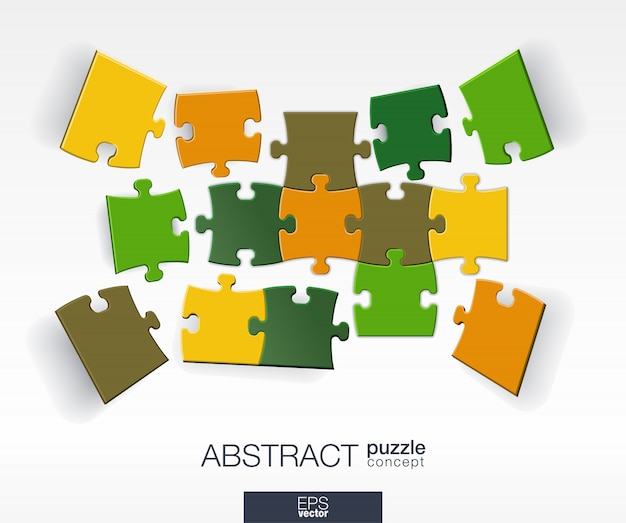 Abstracte achtergrond met aangesloten kleur puzzels, geïntegreerde elementen. infographic concept met mozaïekstukken in perspectief. interactieve illustratie.