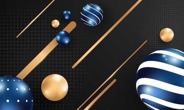 Abstracte achtergrond met bal. blauwe en gouden bubbels.