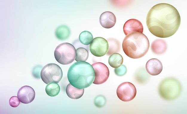 Abstracte achtergrond met ballen die willekeurig vliegen