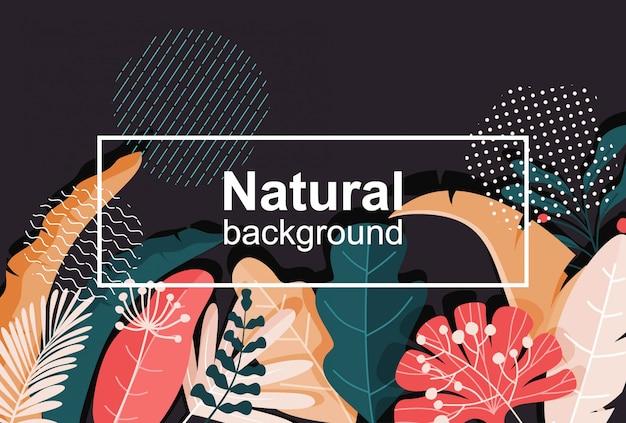 Abstracte achtergrond met bladeren - sjabloon voor spandoek met kopie ruimte voor tekst.
