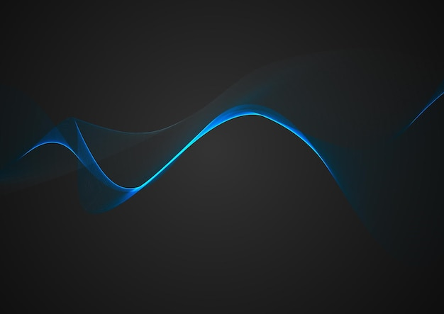 Abstracte achtergrond met blauw vloeiend lijnenontwerp
