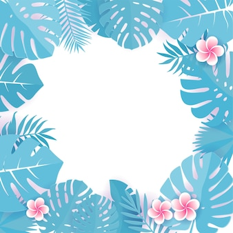 Abstracte achtergrond met blauwe cyaan tropische bladeren. frangipani bloemen. floral caper gesneden ontwerp achtergrond.