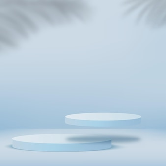 Abstracte achtergrond met blauwe geometrische 3d podia. illustratie.